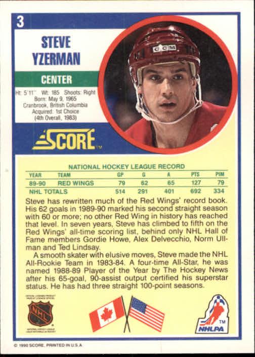 1990-91 Score #3 Steve Yzerman back image