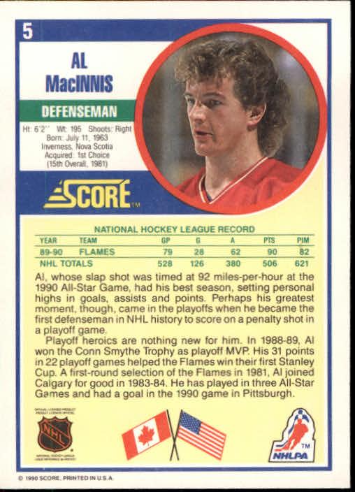 1990-91 Score #5 Al MacInnis back image