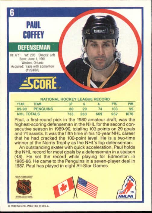 1990-91 Score #6 Paul Coffey back image