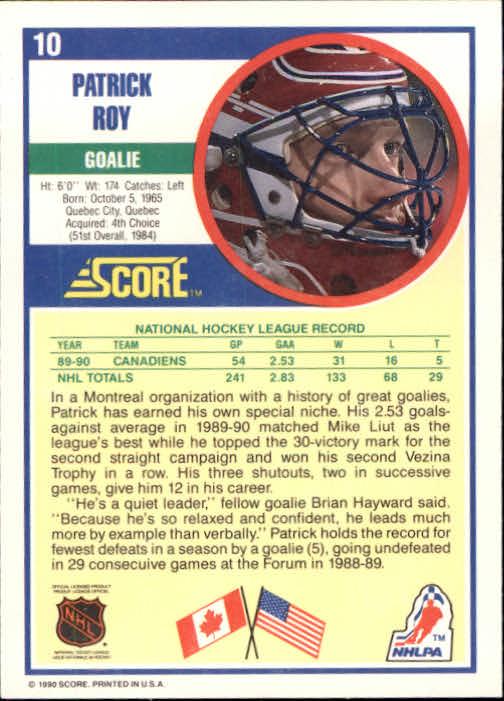 1990-91 Score #10 Patrick Roy back image