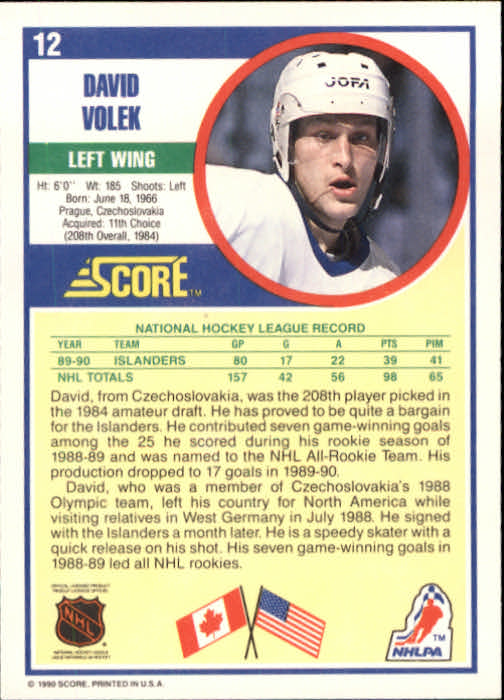 1990-91 Score #12 David Volek back image