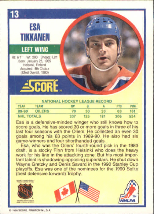 1990-91 Score #13 Esa Tikkanen back image