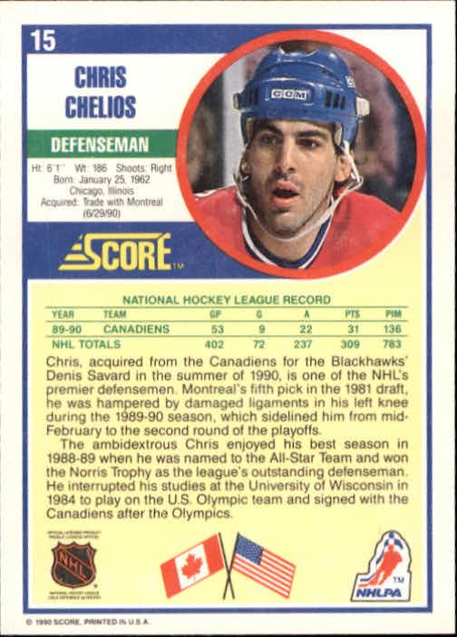 1990-91 Score #15 Chris Chelios back image
