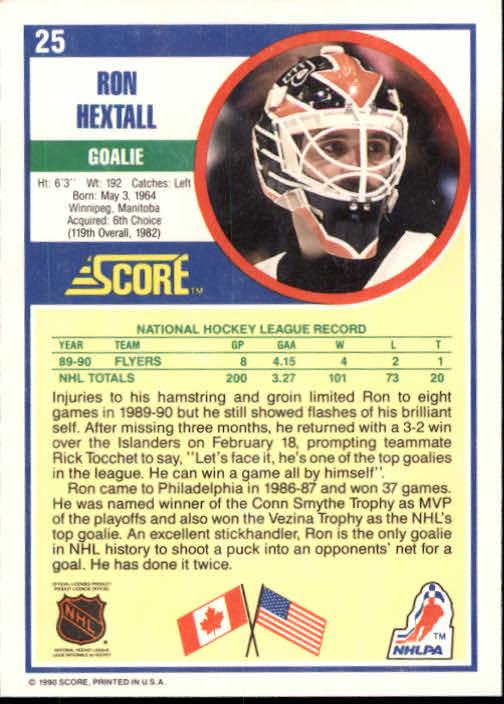 1990-91 Score #25 Ron Hextall back image