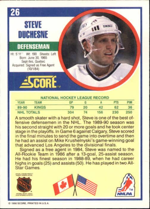 1990-91 Score #26 Steve Duchesne back image