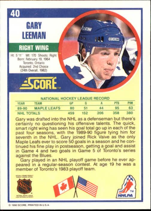 1990-91 Score #40 Gary Leeman back image
