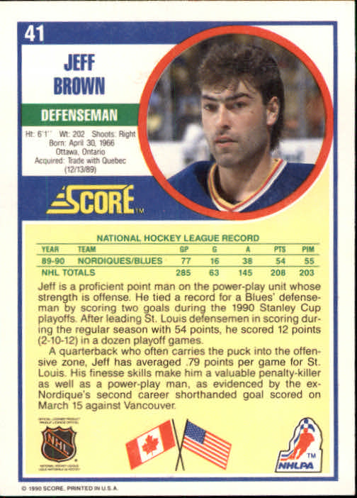 1990-91 Score #41 Jeff Brown back image