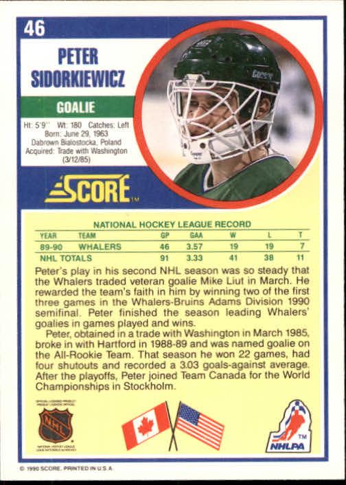 1990-91 Score #46 Peter Sidorkiewicz back image