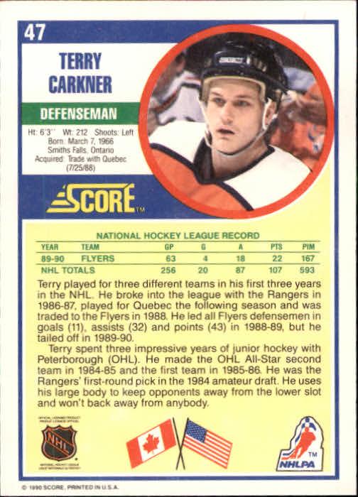 1990-91 Score #47 Terry Carkner back image