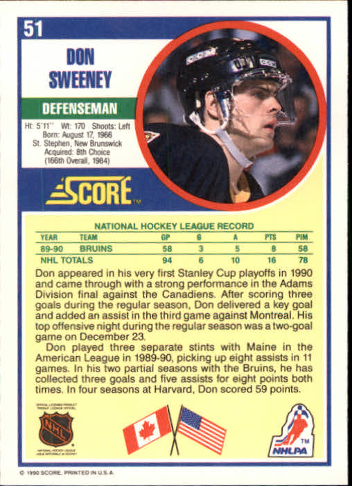 1990-91 Score #51A Don Sweeney RC back image