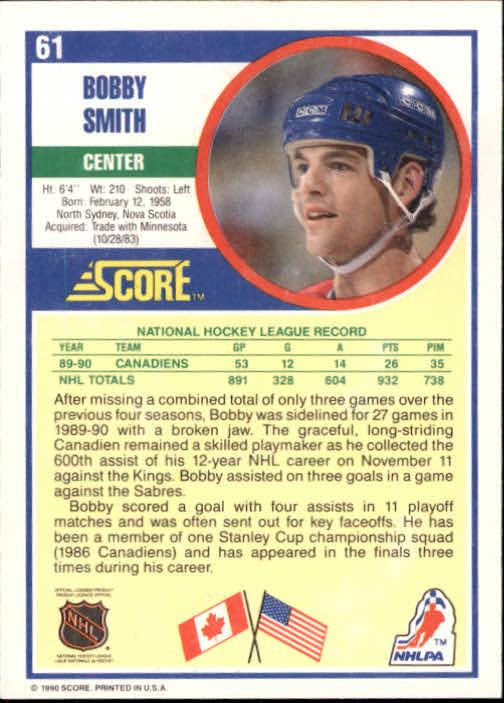 1990-91 Score #61 Bobby Smith back image
