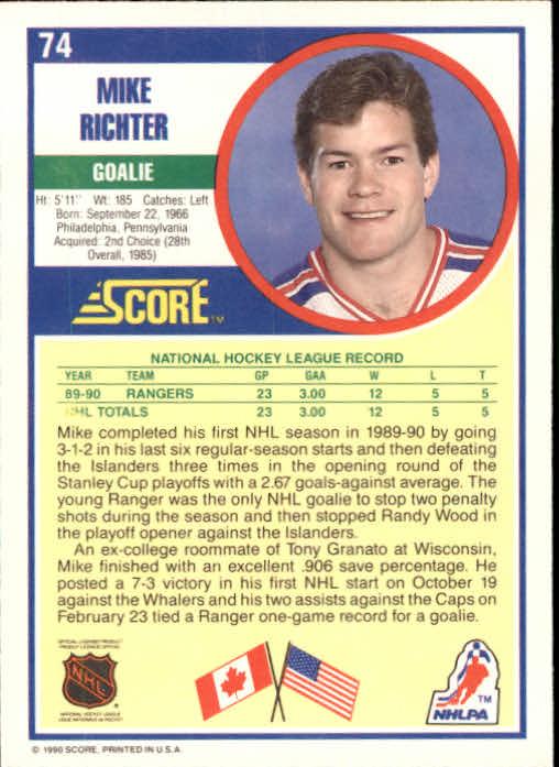 1990-91 Score #74 Mike Richter RC back image