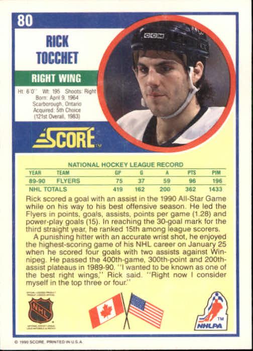 1990-91 Score #80 Rick Tocchet back image