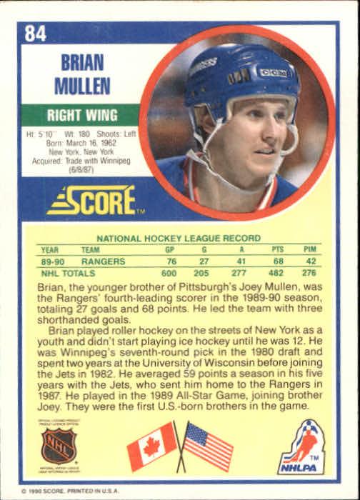 1990-91 Score #84 Brian Mullen back image