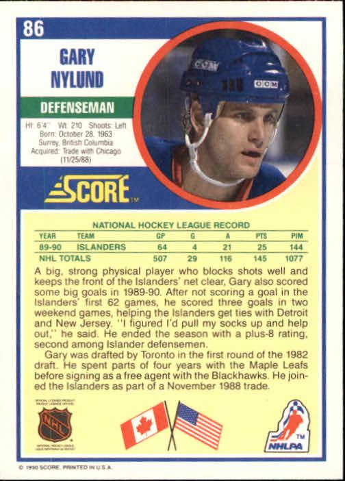 1990-91 Score #86 Gary Nylund back image