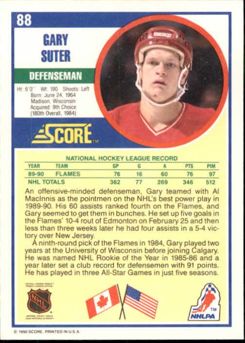 1990-91 Score #88 Gary Suter back image