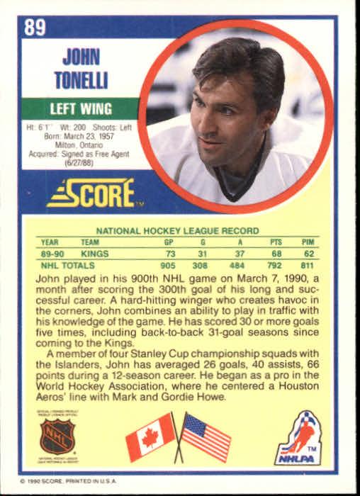 1990-91 Score #89 John Tonelli back image