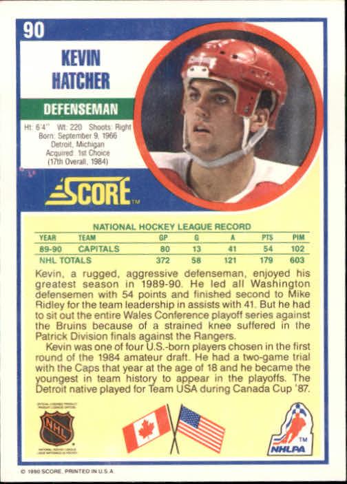 1990-91 Score #90 Kevin Hatcher back image