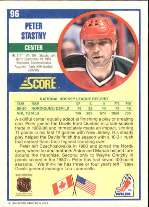 1990-91 Score #96 Peter Stastny back image
