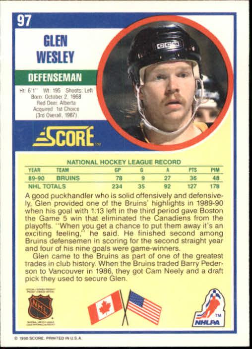 1990-91 Score #97 Glen Wesley back image