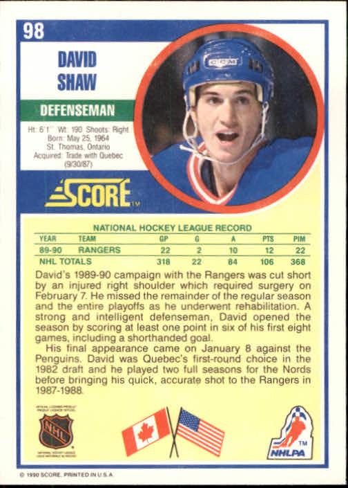 1990-91 Score #98 David Shaw back image