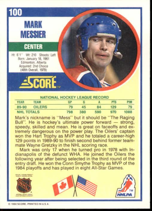 1990-91 Score #100 Mark Messier back image