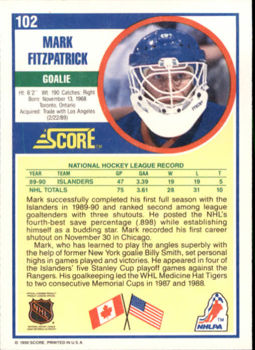 1990-91 Score #102A Mark Fitzpatrick ERR RC/(reads catches: right on back) back image