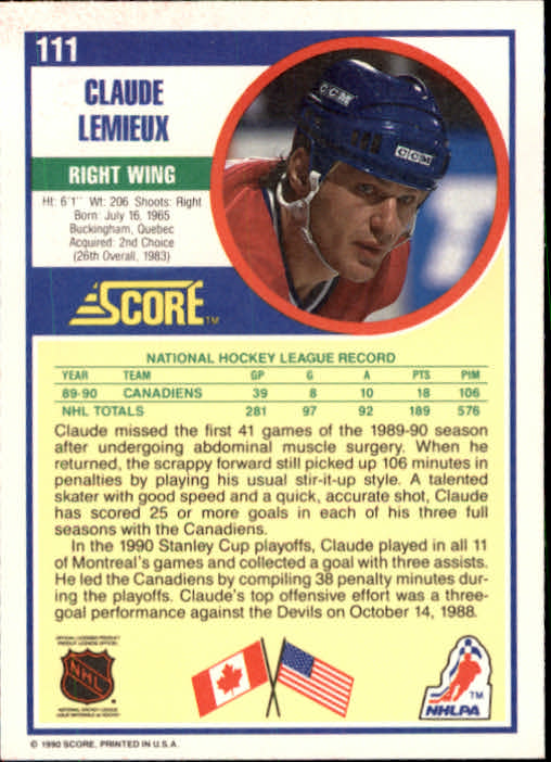1990-91 Score #111 Claude Lemieux back image