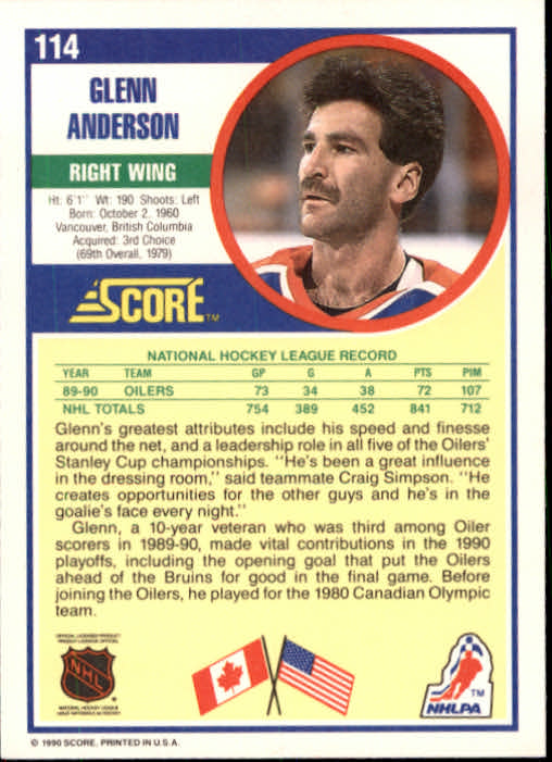 1990-91 Score #114 Glenn Anderson back image