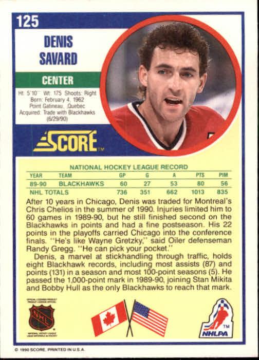 1990-91 Score #125 Denis Savard back image