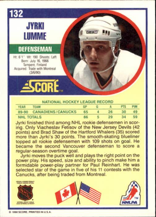 1990-91 Score #132 Jyrki Lumme RC back image