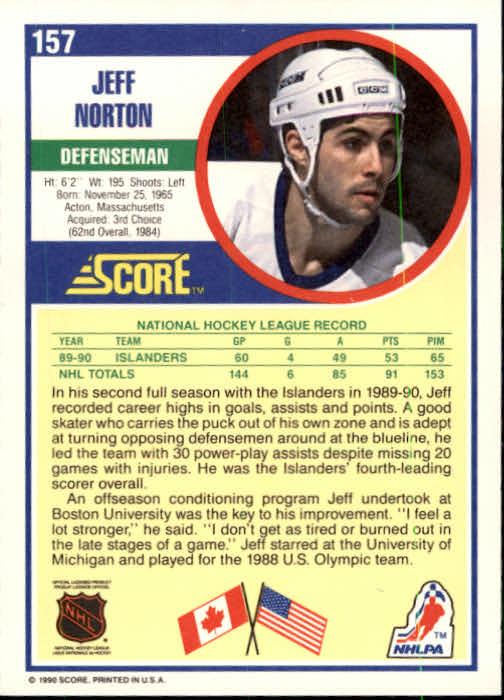 1990-91 Score #157 Jeff Norton back image