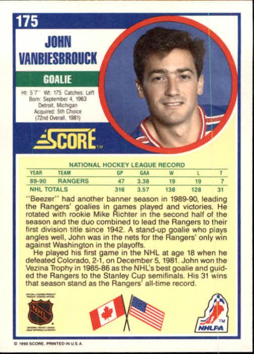 1990-91 Score #175 John Vanbiesbrouck back image