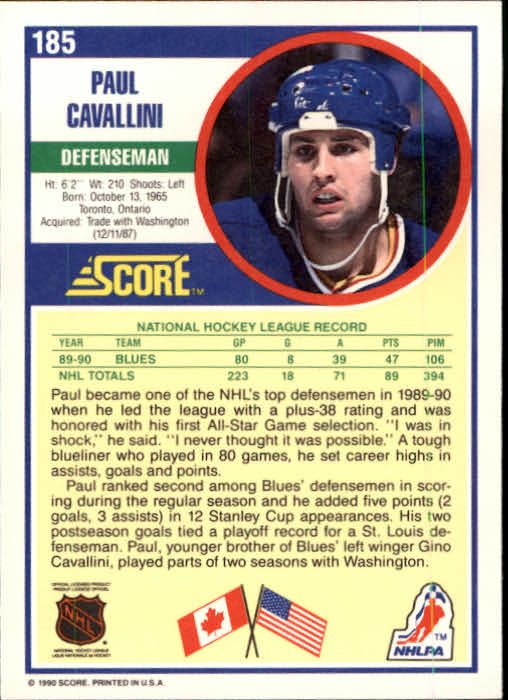 1990-91 Score #185 Paul Cavallini back image