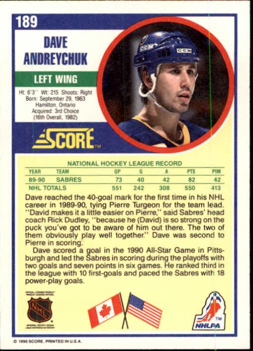 1990-91 Score #189 Dave Andreychuk back image
