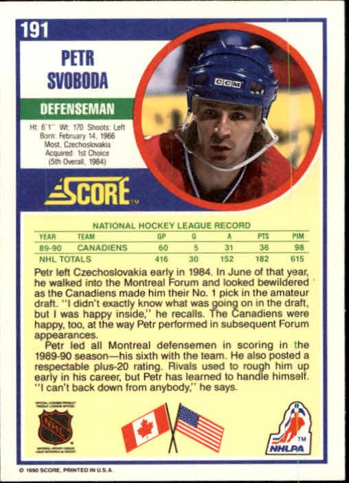 1990-91 Score #191 Petr Svoboda back image