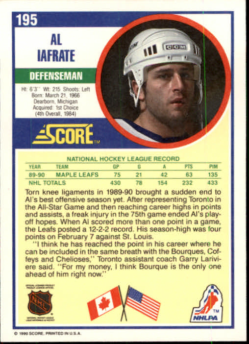 1990-91 Score #195 Al Iafrate back image