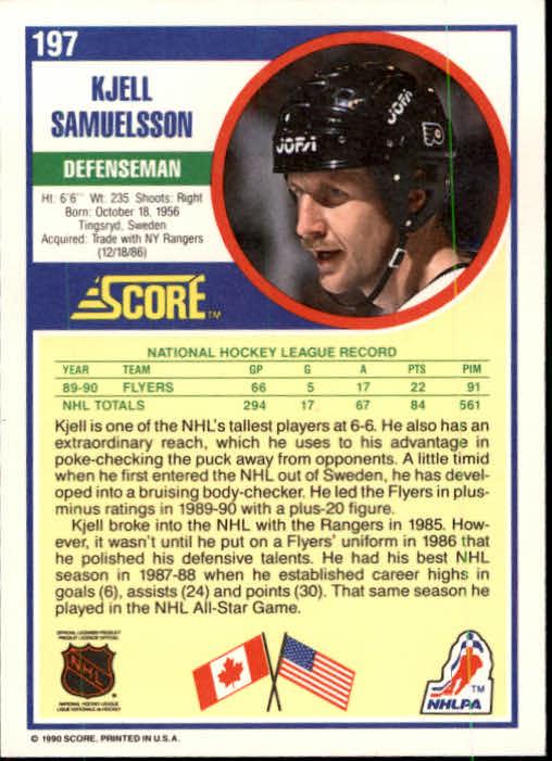 1990-91 Score #197 Kjell Samuelsson back image