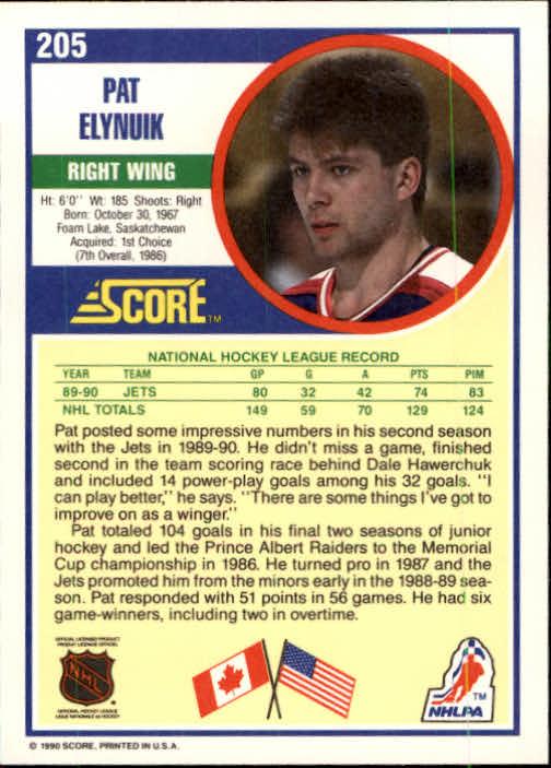 1990-91 Score #205 Pat Elynuik back image