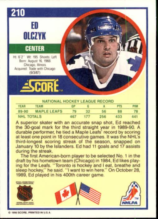 1990-91 Score #210 Ed Olczyk back image