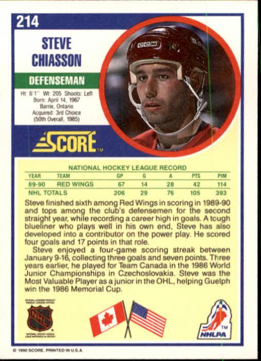 1990-91 Score #214 Steve Chiasson back image