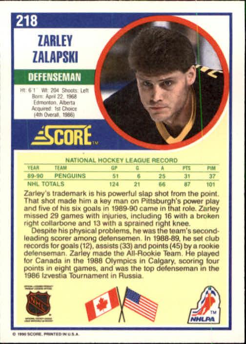 1990-91 Score #218 Zarley Zalapski back image