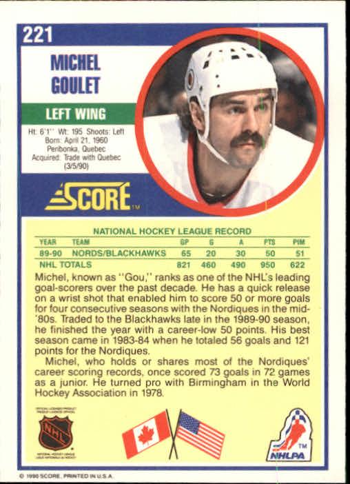 1990-91 Score #221 Michel Goulet back image