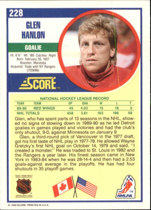 1990-91 Score #228 Glen Hanlon back image