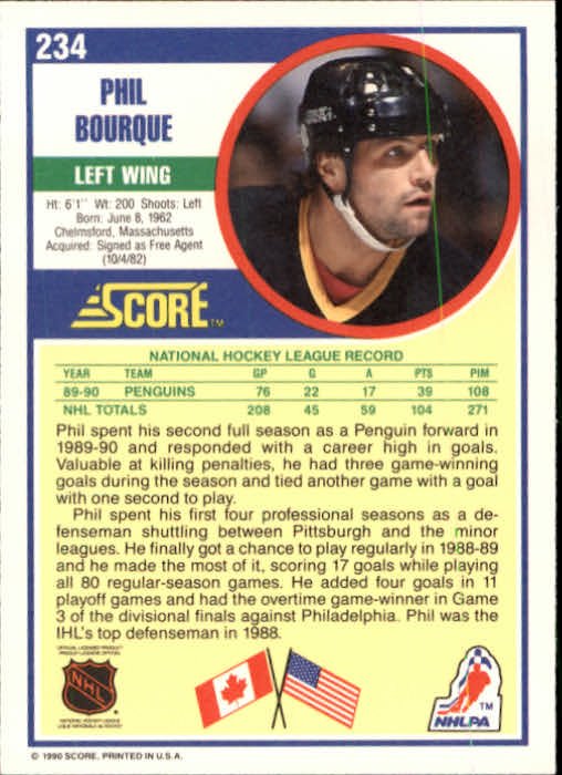 1990-91 Score #234 Phil Bourque back image