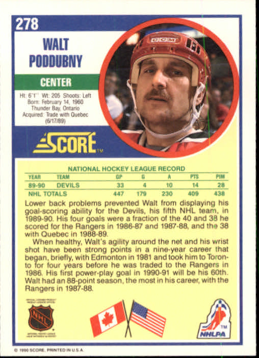 1990-91 Score #278 Walt Poddubny back image