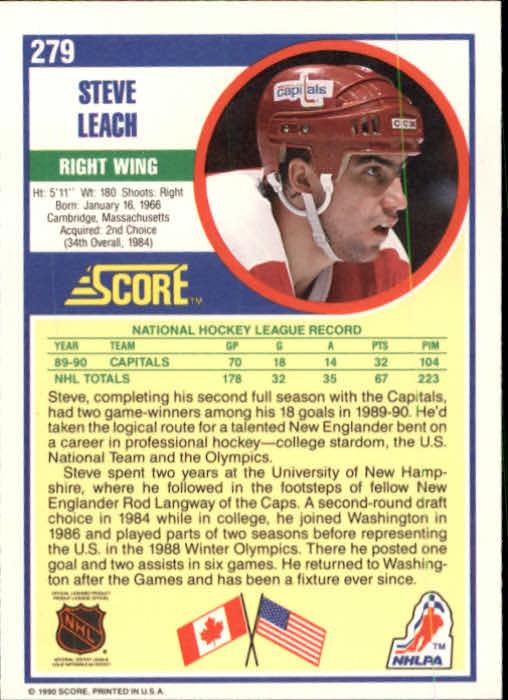1990-91 Score #279 Stephen Leach back image