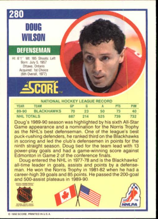 1990-91 Score #280 Doug Wilson back image