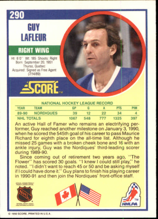 1990-91 Score #290 Guy Lafleur back image