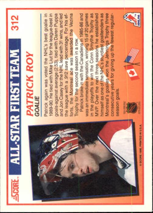 1990-91 Score #312 Patrick Roy AS1 back image
